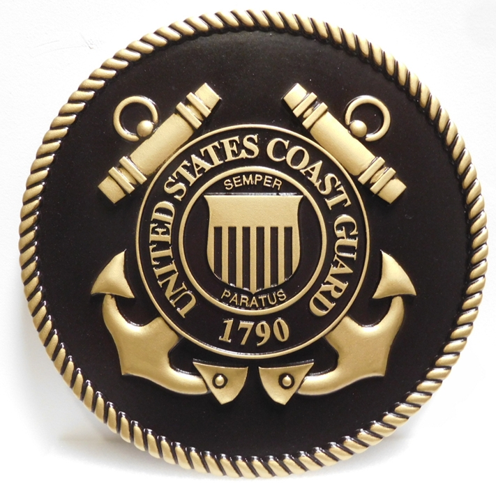 NP-1090 - Carved Plaque of the Great Seal of the US Coast Guard, 3D Painted Metallic Brass with Hand-Rubbed  Black