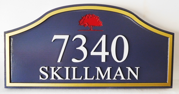 I18900- Carved Address Number Plaque with Receesed Tree as Art