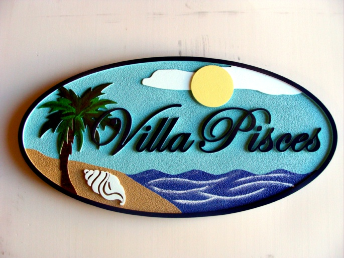 "L21104 - Beach House Sign ""Villa Pisces"" with Palm and Seashell"
