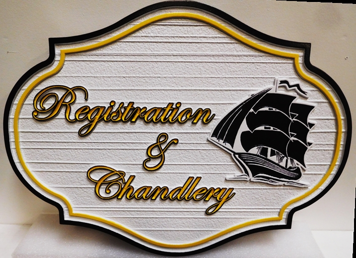 L21753 - Carved Commercial Plaque for Registration and Chandlery featuring a Clipper Ship , 2.5D and Sandblasted
