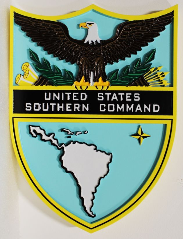 MP-1235 - Carved Plaque of the Seal of the US Army's Southern  Command , 2,5-D  Artist Painted