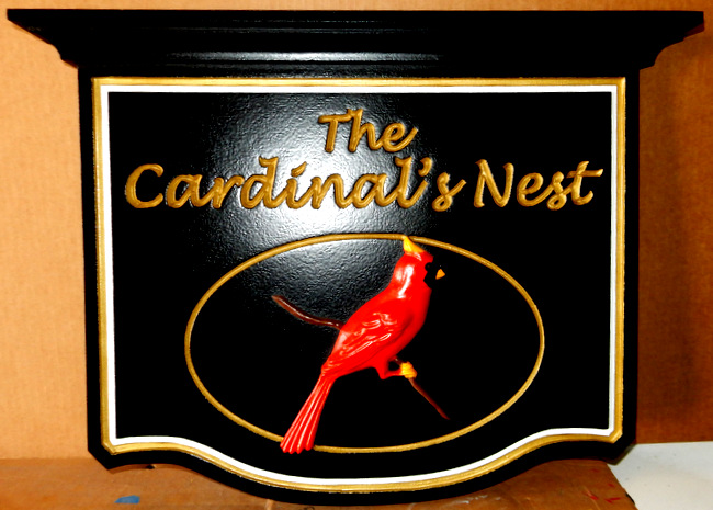 "I18504 - Engraved Residence Name Sign ""The Cardinal's Nest"", with Carved 3-D Cardinal Bird on a Branch"