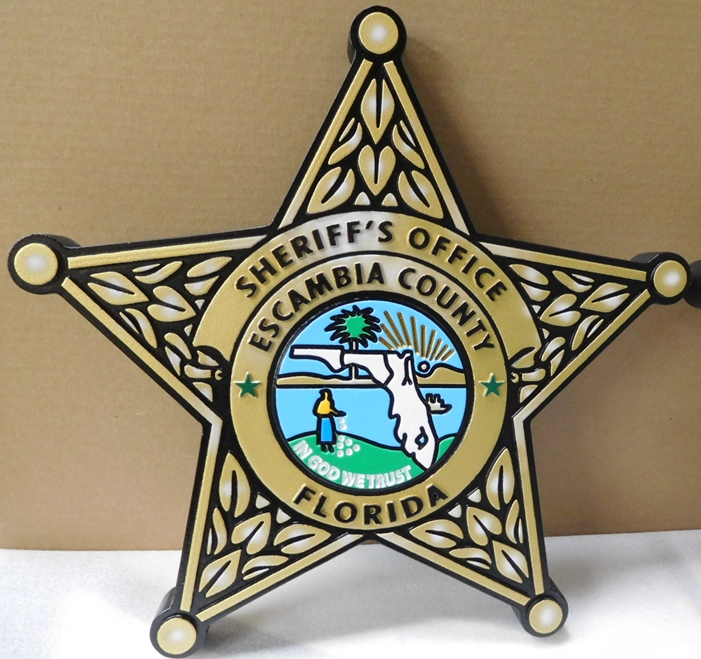 PP-1650 - Carved Wall Plaque of the Star Badge of the Sheriff's Office, Escambia County, Florida, Artist Painted
