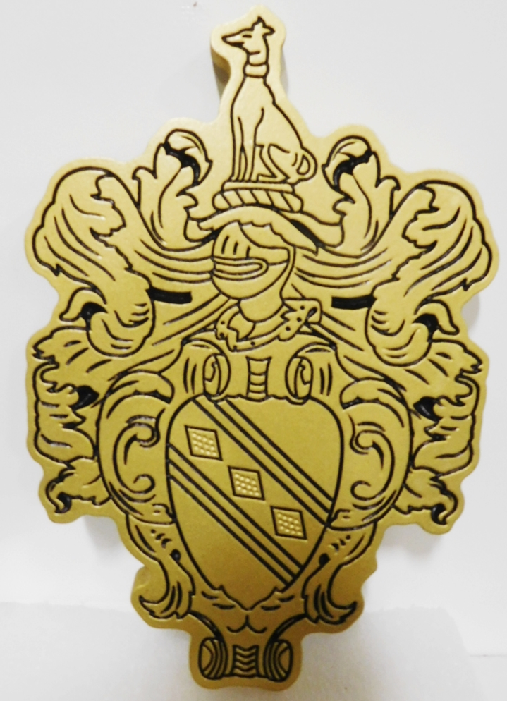 XP-3300 - Carved Plaque of a Coat-of-Arms / Crest for a Family,  2.5-D Engraved Relief