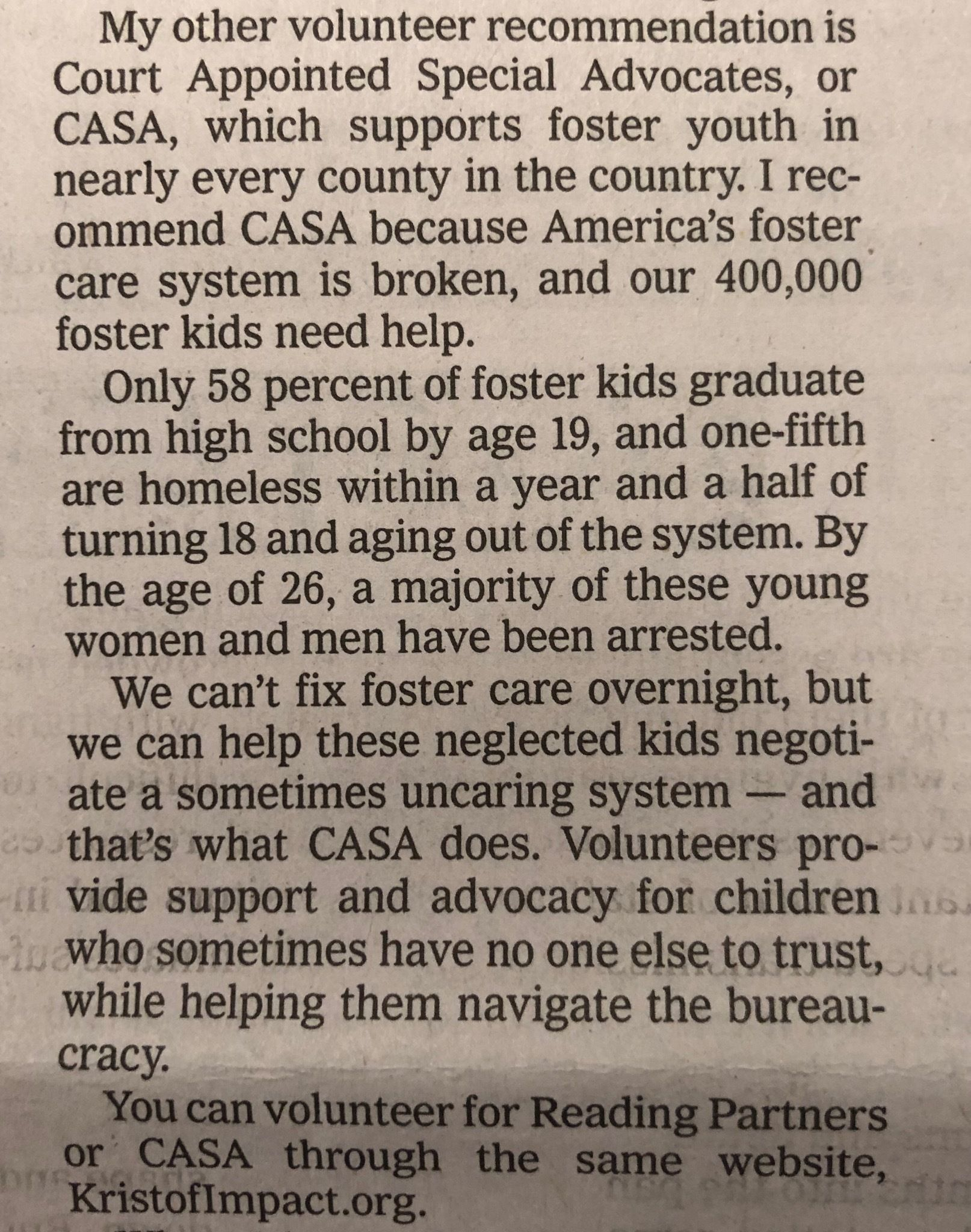 In New York Times column, Nicholas Kristof endorses CASA volunteer movement for children
