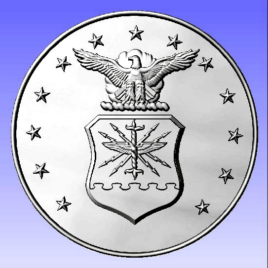 V31512- Silver-Leaf Gilded Carved Air Force  Great Seal