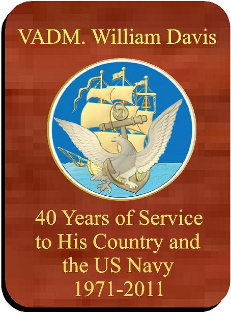 V31237 - Rectangular Mahogany Award or Service Plaque with Carved Navy Seal