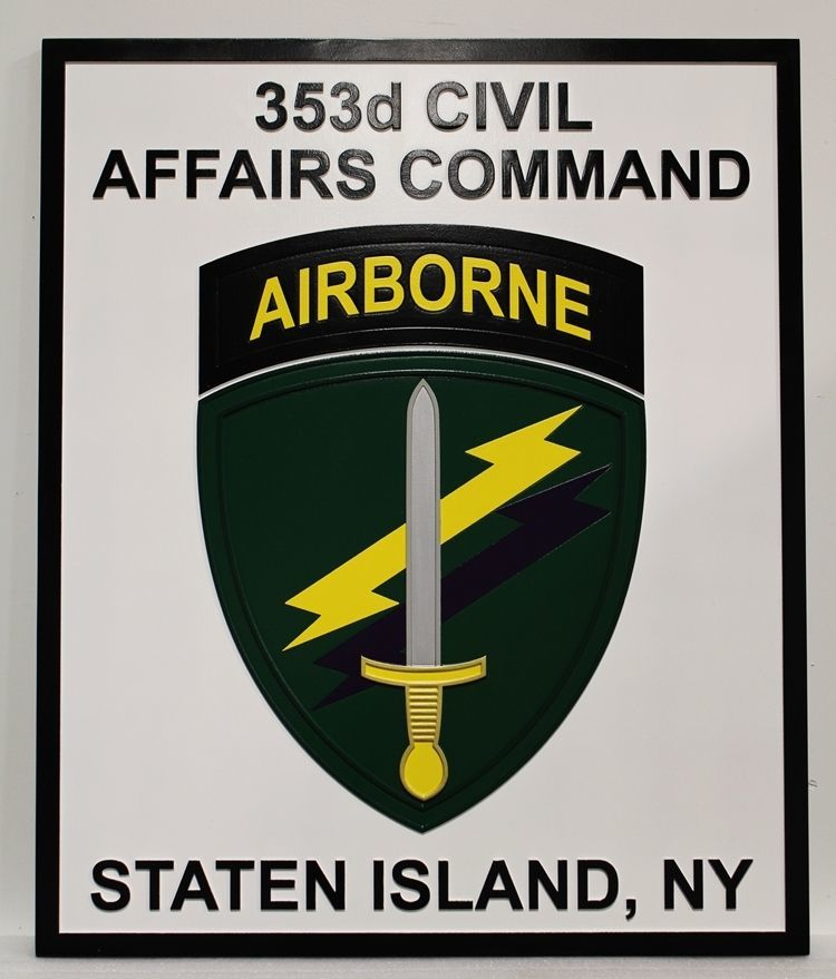 MP-2405 - Carved 2.5-D  HDU Plaque of the Crest of the 353rd Civil Affairs Command for an Airborne Unit , Staten Island, N.Y., US Army