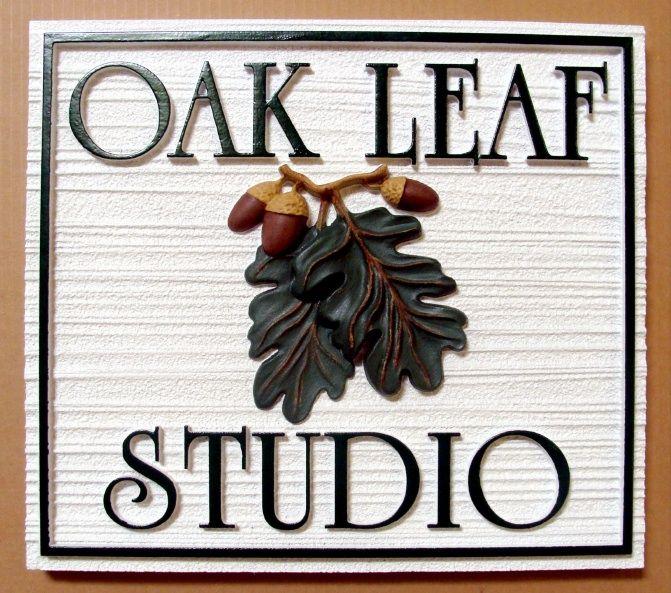 "SA28418 - Sandblasted Wood-Grain ""Oak Leaf Studio"" Sign with 3-D Carving of Oak Leaves and Acorns"