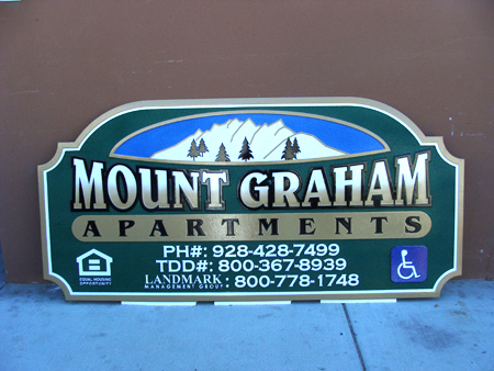 M22202- Carved Wood Apartment Sign with Snow-Capped Mountain