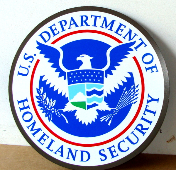 U30172A - Carved Wall Plaque of Seal of Homeland Security (Light Blue)