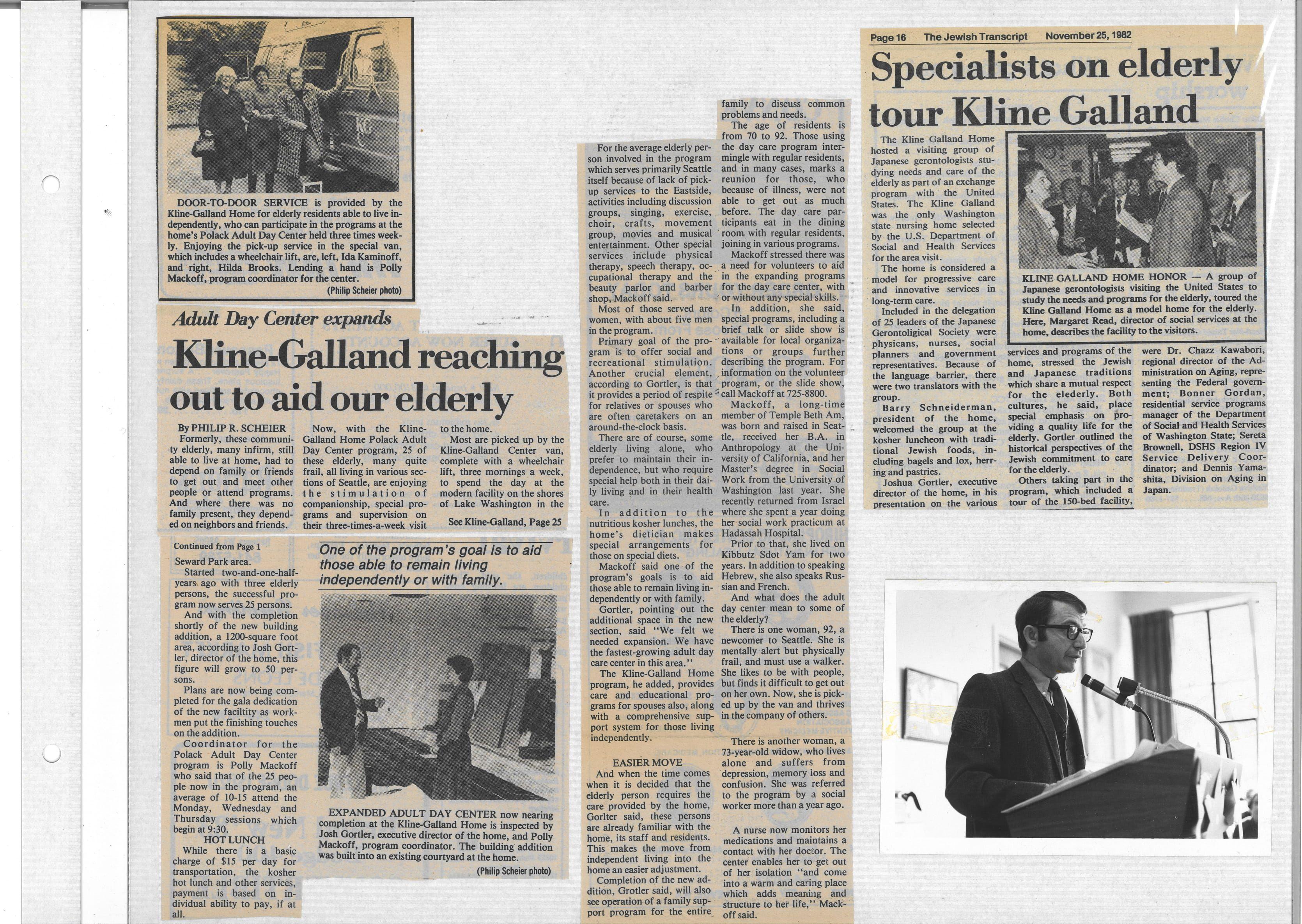 Newspaper clippings on Kline Galland (1982)