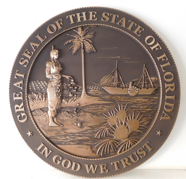 BP-1140 - Carved Plaque of the Great Seal of the State of Florida (Old Style), Bronze Plated