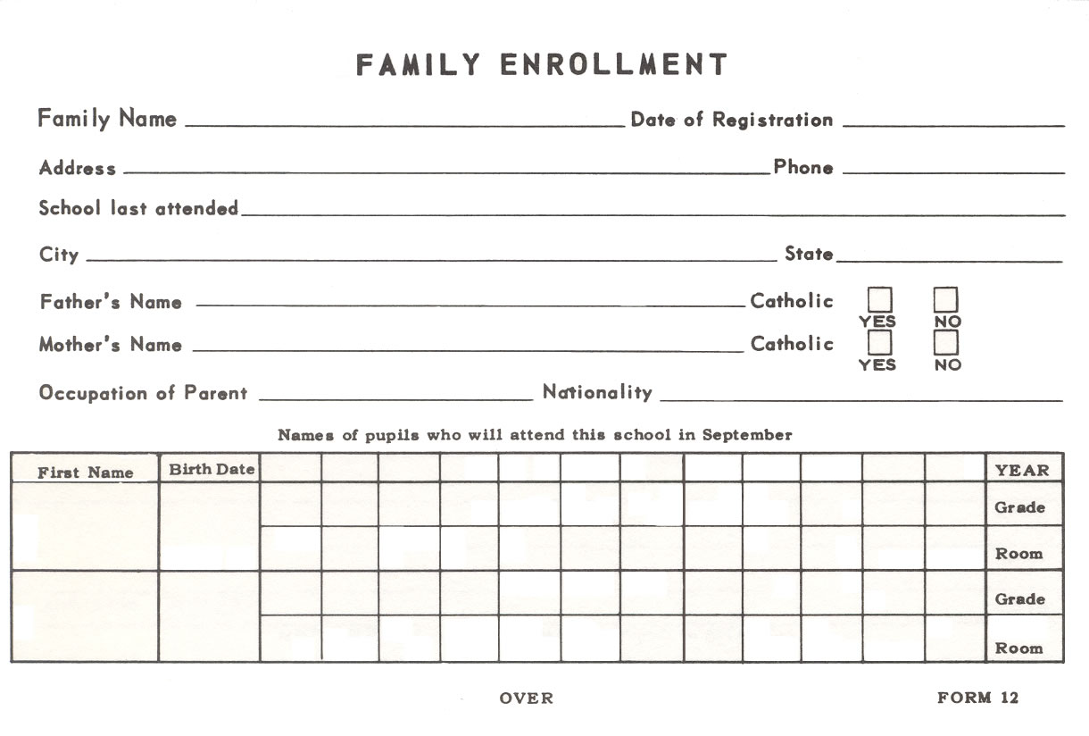 Family Enrollment Card