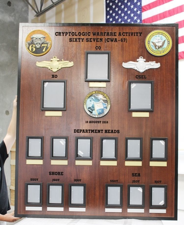 JP-2358 - Chain-of-Command Photo Board for the Cryptologic  Warfare Activity Soxty-Seven of the US Navy