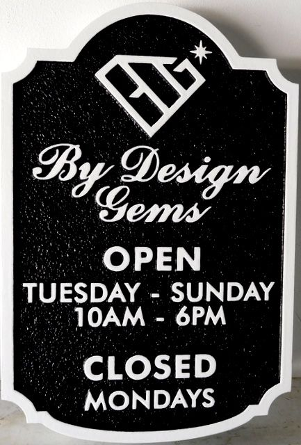 """SA28040 -  Carved and Sandblasted HDU sign for """"By Designs Gems"""" Jewelry Store."""