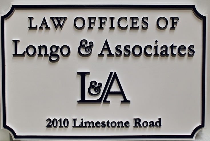 A10500 - Carved Entrance  Sign for the Law Offices of Longo & Associates