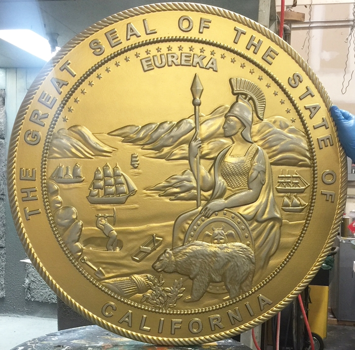 BP-1035 - Carved Plaque of the Seal of the State of California, Metallic Silver PaInted with Hand-Rubbed Brass Paint