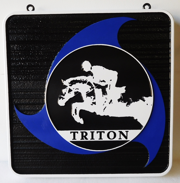 "P25235 - Carved and Sandblasted Entrance Sign for the ""Triton""  Equestrian Facility with  an Equestrian Jumping as Artwork"