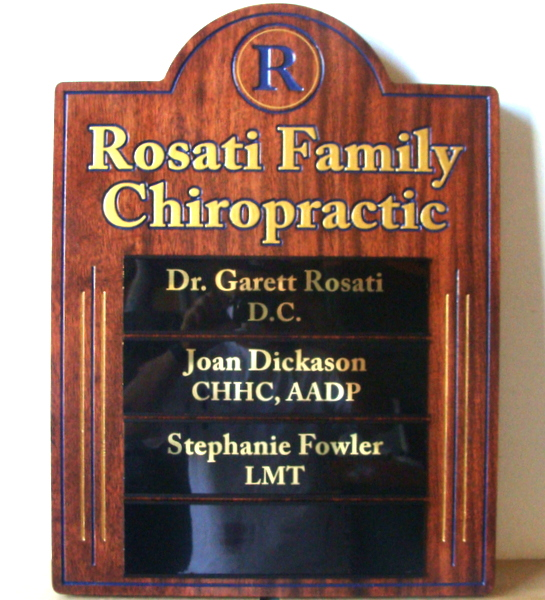"B11150 - Carved Wood Sign for "" Rosati Family Chiropractic"" Office"