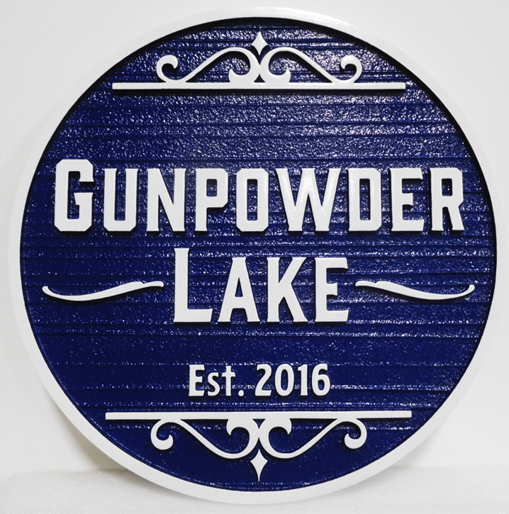 "M22444 - Carved and Sandblasted Wood Grain HDU  Sign ""Gunpowder Lake"", 2.5-D"