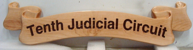 FP-1620 -  Carved Ribbon Plaque of Tenth Judicial  District,  Cedar Wood