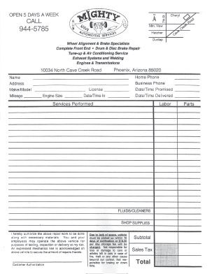 Automotive Business Forms