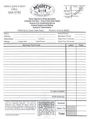 Automotive Business Forms