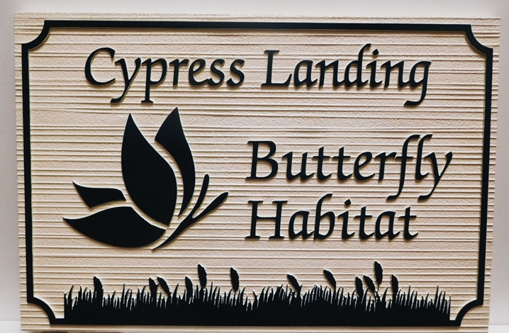 GA16413- Carved and Sandblasted Wood Grain Sign for Cypress Landing Butterfly Habitat, 2.5-D Artist-Painted