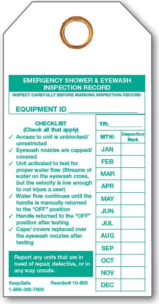 Emergency Shower and Eyewash Inspection Record
