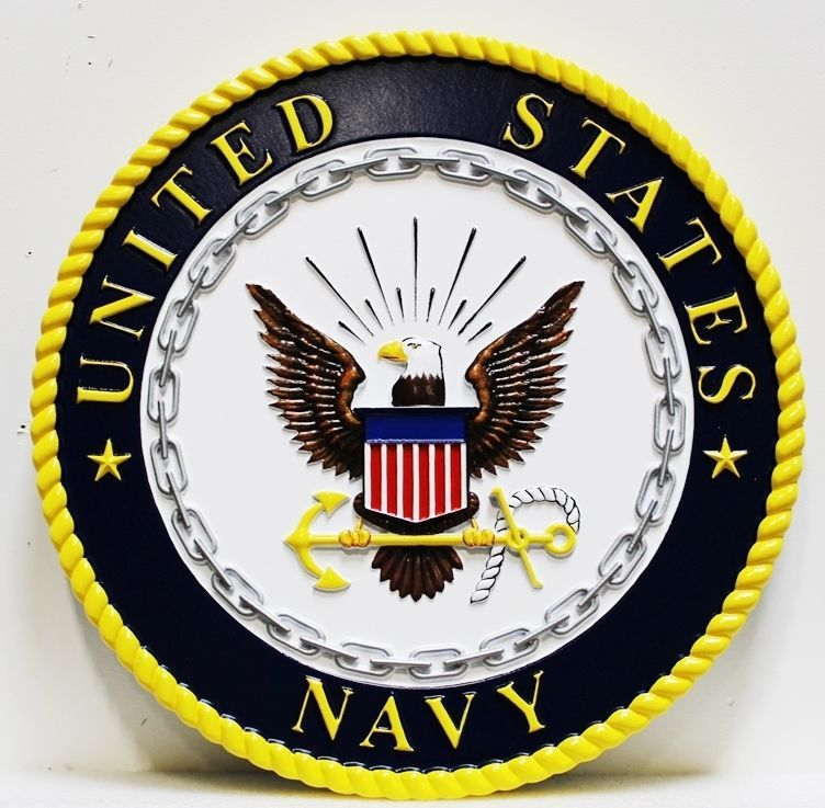JP-1195 -  Carved Plaque of the Emblem of the US Navy, 2.5-D Relief Artist Painted