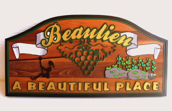R27048 - Carved Redwood Sign for Beaulieu Vineyards