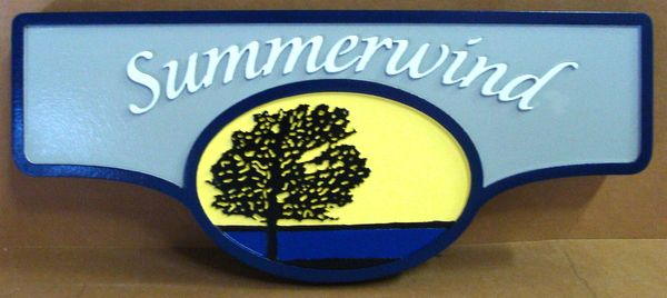 "I18322 - Carved and Sandblasted HDU Property Name Sign ""Summerwind"", with Lone Oak Tree against Skyline"