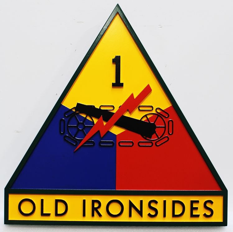 "MP-1420 - Carved Plaque of the Insignia  of the 1st  Armored Division of the US Army,""the ""Old Ironsides"" ,2.5-D  Artist Painted"