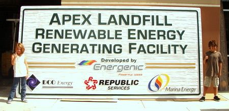 S28058- Large 16 ft Wide Sandblasted (wood Grain)  Sign for the Apex Landfill Site