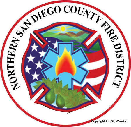 QP-3065 - Carved Wall Plaque of  the Seal  of the Northern San Diego County Fire Department,  California,  Artist Painted with Giclee Image