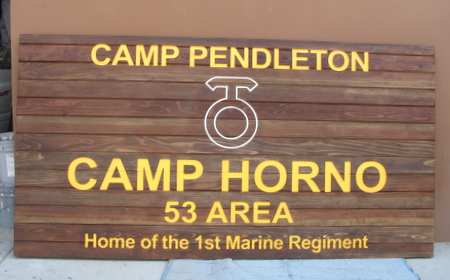 KP-2460 -  Carved Entrance Sign of  Camp Horno in Camp Pendleton, 1st Marine Regiment,  Cedar Wood