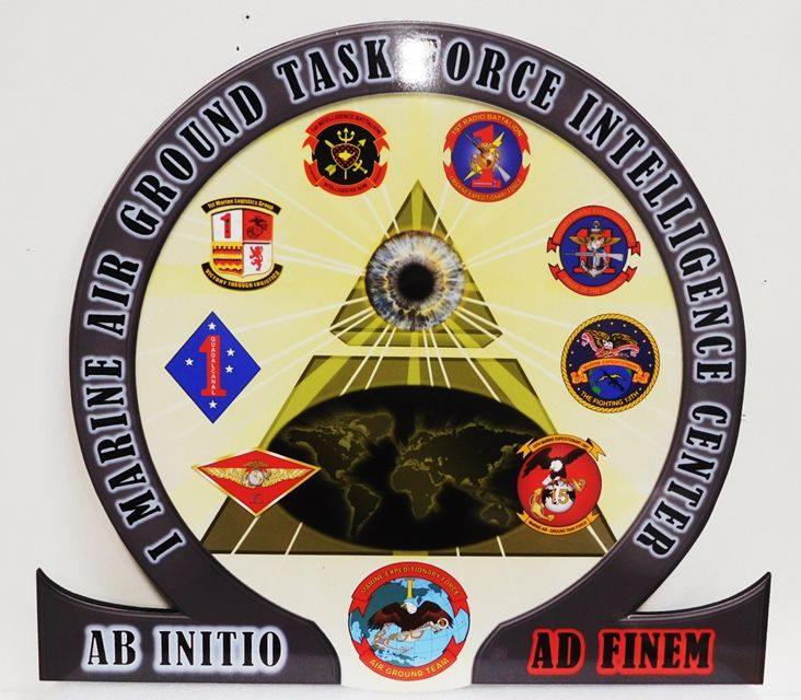EA5082 - Seal of Marine Air Ground Team Task Force Intelligence Center Mounted on Sintra Board.