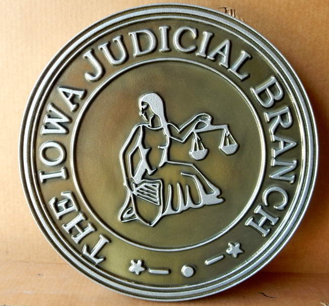 W32201 - Silver-Nickel Coated Round Plaque for the  Iowa Judicial Branch