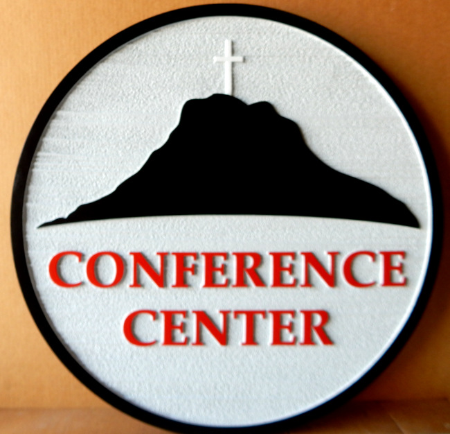 G16333 -  Conference Center Sign with Salvation Army Cross and Mountain Logo