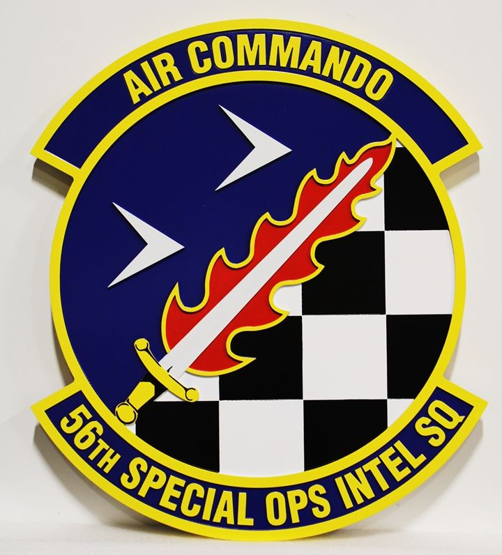"""LP-3885 -  Carved Plaque of the Crest of the 56th Special Operations Squadron """"Air Commando"""", 2.5-D Artist-Painted"""