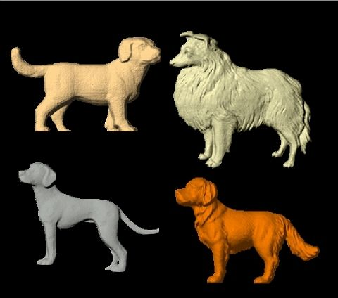BB11997 - Carved 3D Wood Appliques of Dogs (Black Lab, Collie, Dalmation, Retriever)