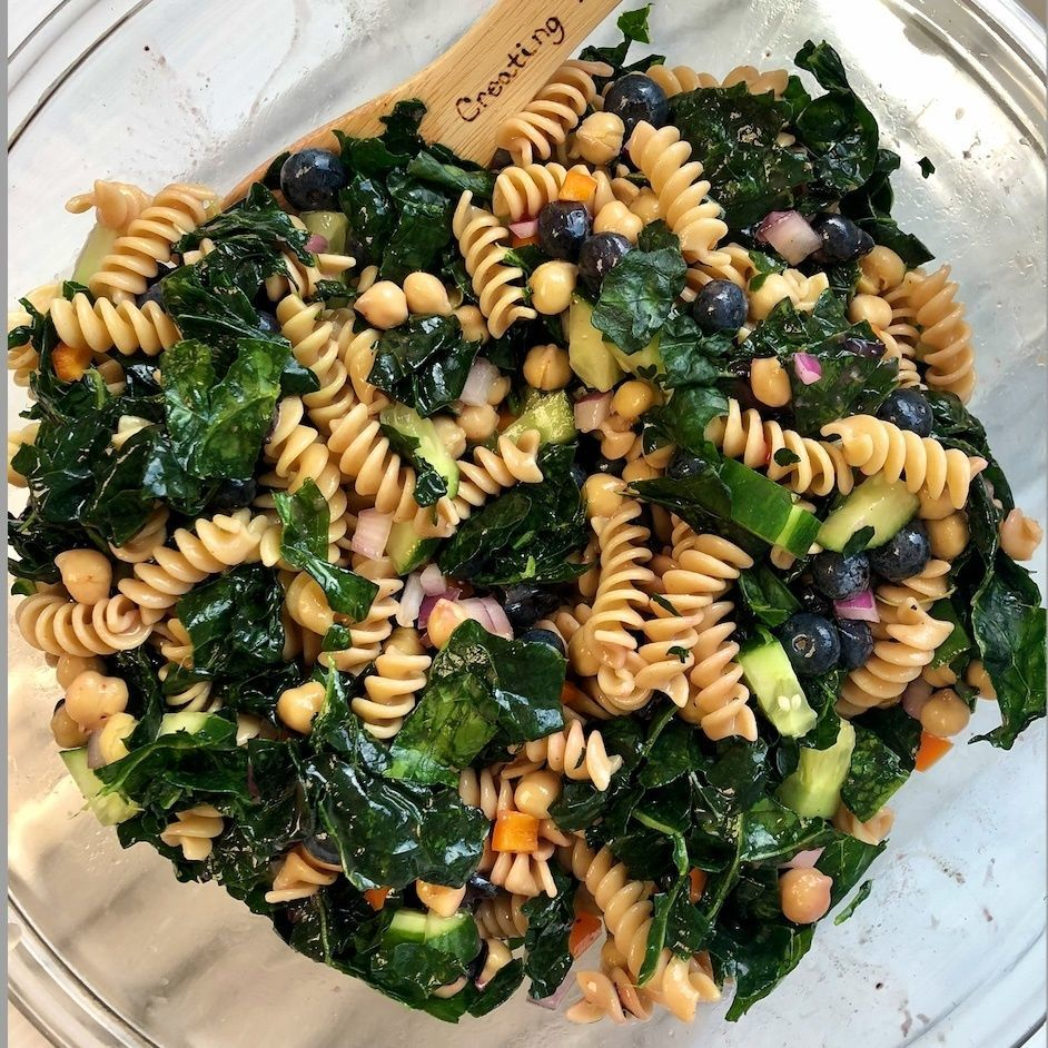 May: Blueberry Chickpea Pasta Salad