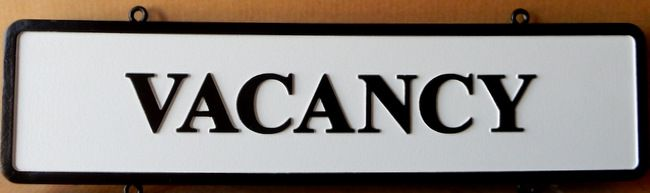 "T29430 - Carved  HDU  ""Vacancy"" Sign for B& B"
