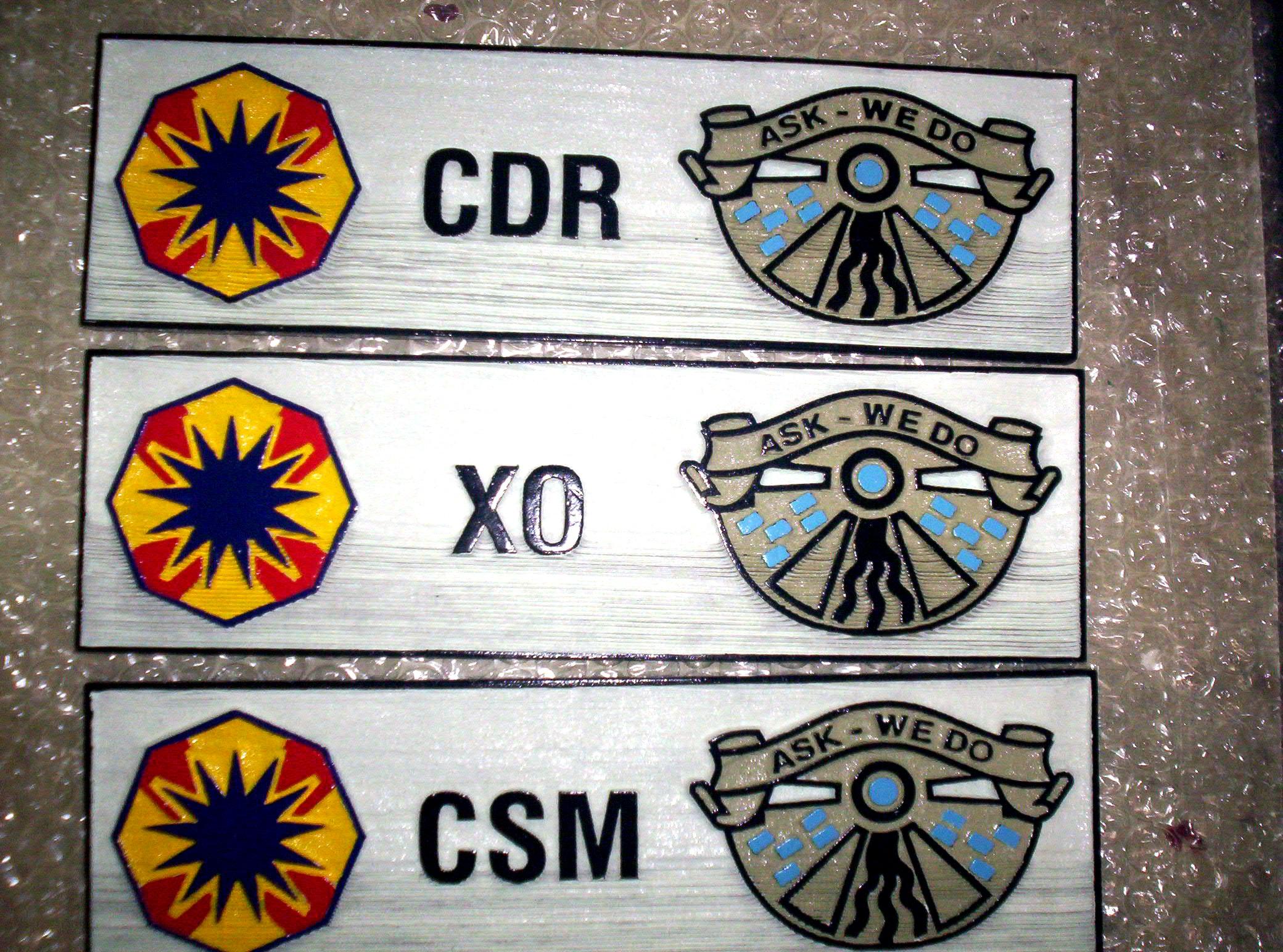 M3218 - Carved Cedar Navy Officer Rank Door Plaques (Gallery 31)