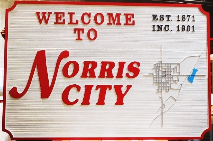 F15385 - Large Carved and Sandblasted Wood Grain HDU Entrance  Sign for Norris City, 2.5-D Artist-Painted with City Map as Artwork