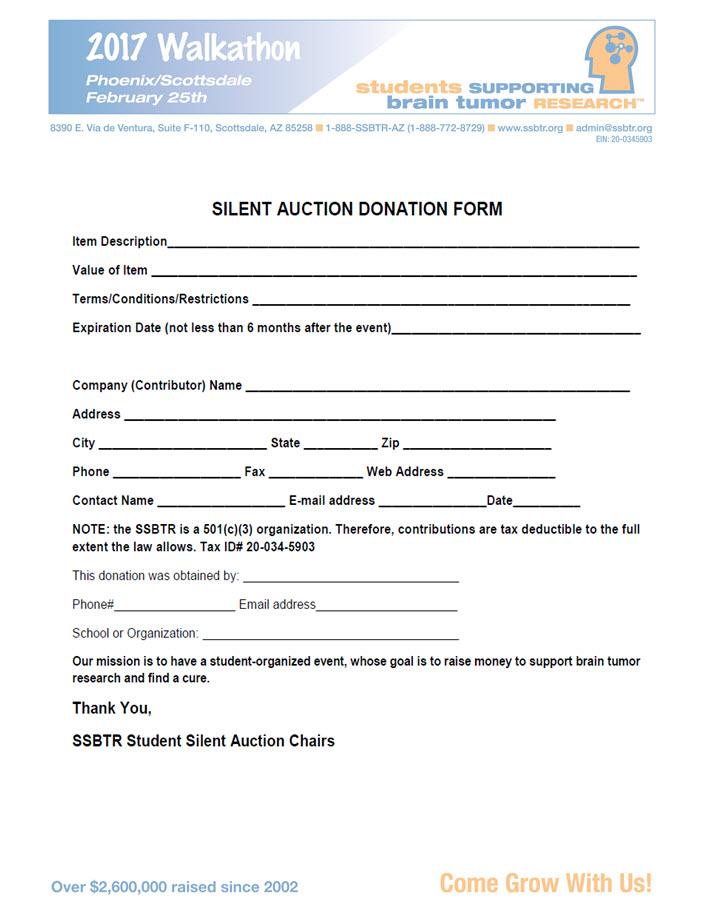 2017 Silent Auction Form