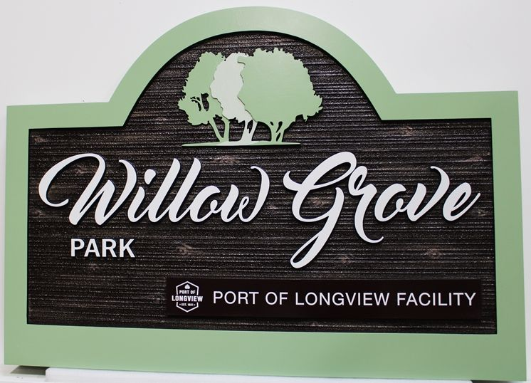 GA16435 - Carved and Sandblasted  carved High-Density-Urethane (HDU) Entrance Sign for Willow Grove Park, Port of Longview, WA
