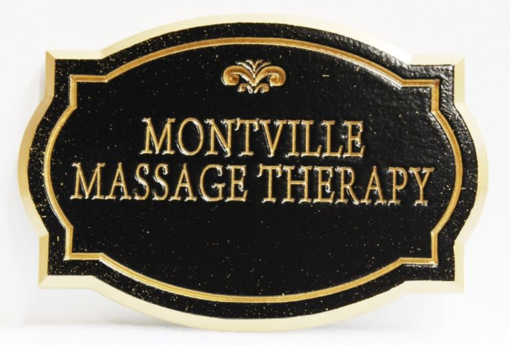 """B11359 - Elegant Engraved Sign for """"Montville Massage Therapy"""""""