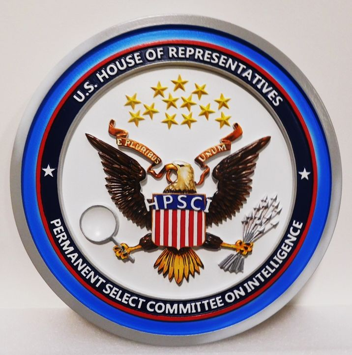 AP-2095 - Carved Plaque of the  Seal of the US House of Representatives Permanent Select Committee on Intelligence, 3D  Artist-Painted